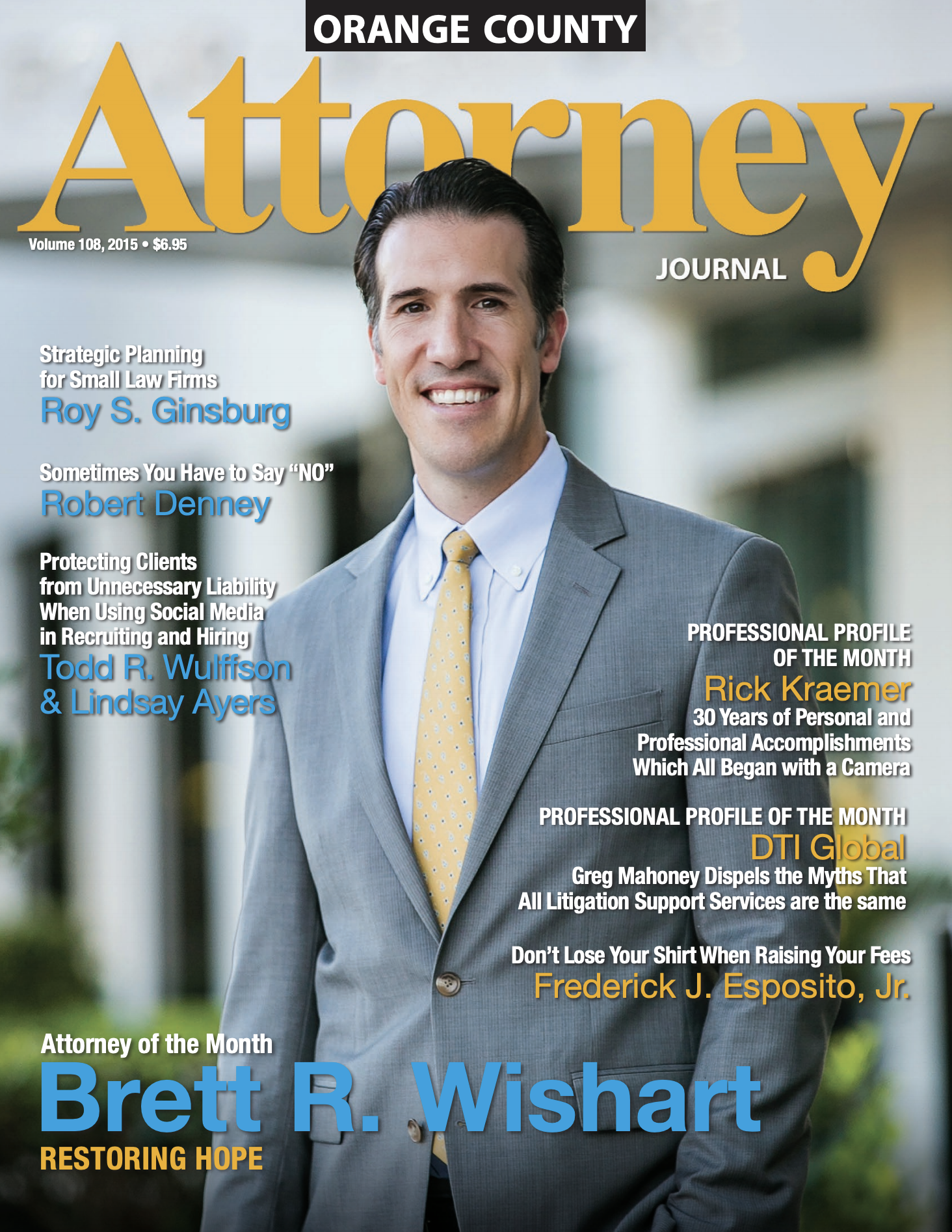 Brett R. Wishart on the Cover of Attorney Journal