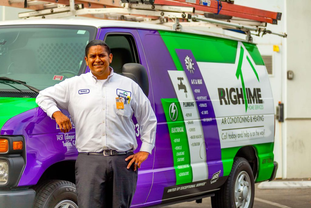Rightime Home Services Van with Worker in front