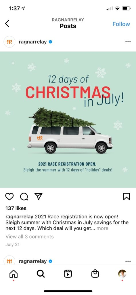 """Ragnar Instagram Post - 12 Days of Christmas in July! 2021 Race Registration Open. Sleigh the Summer with 12 Days of """"Holiday"""" Deals!"""
