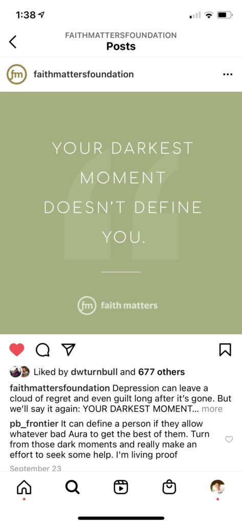 Faith Matters Instagram Post - Your Darkest Moment Doesn't Define You