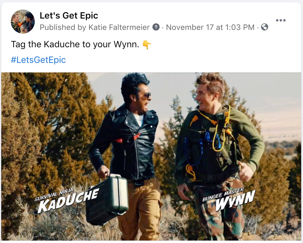 """Let's Get Epic Facebook Post - """"Tag the Kaduche to your Wynn."""""""