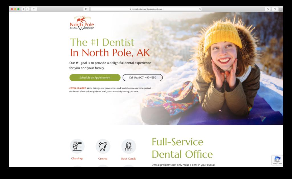 Screenshot of North Pole Dental Workshop homepage