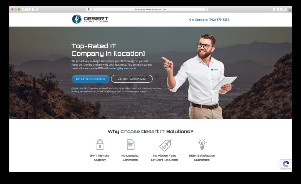 Screenshot of Desert I.T. Solutions homepage