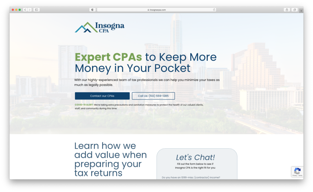 Screenshot of Insogna CPA homepage