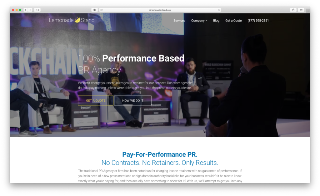Screenshot of Lemonade Stand Pay-For-Performance PR page
