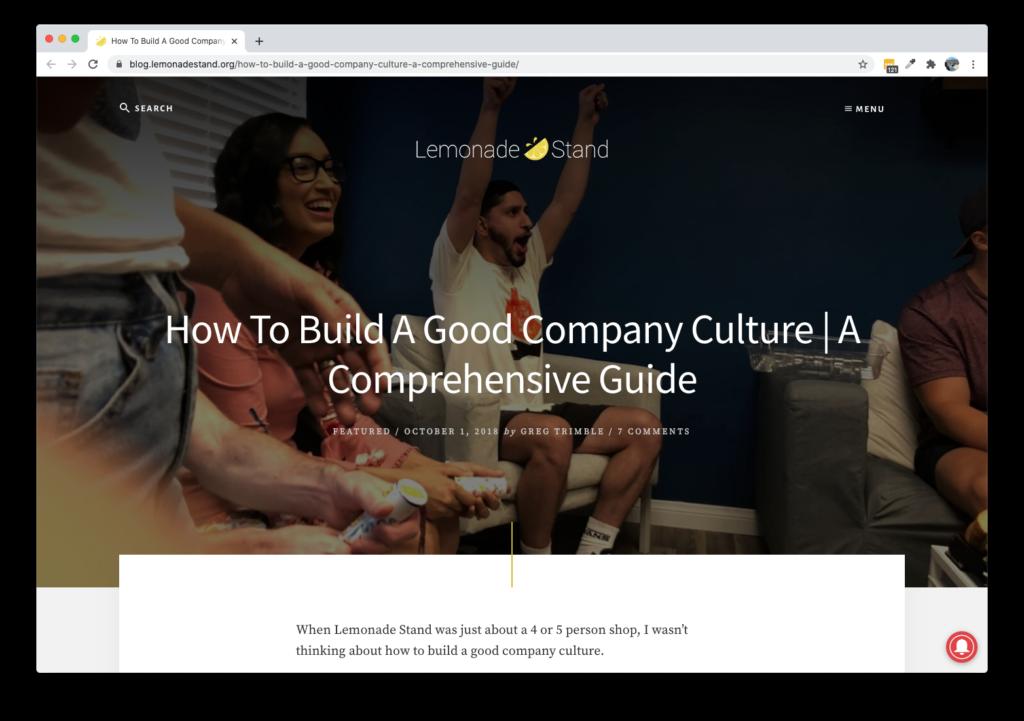 Screenshot of Lemonade Stand Blog - How To Build A Good Company Culture A Comprehensive Guide