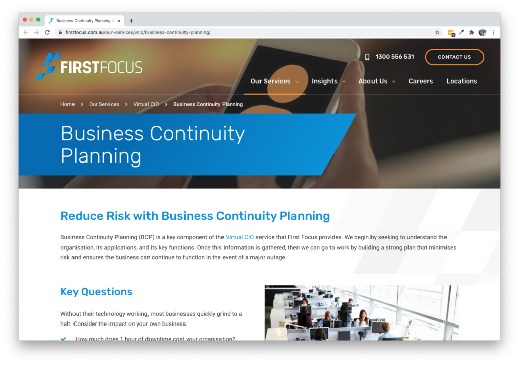 Screenshot of First Focus Business Continuity Planning Page