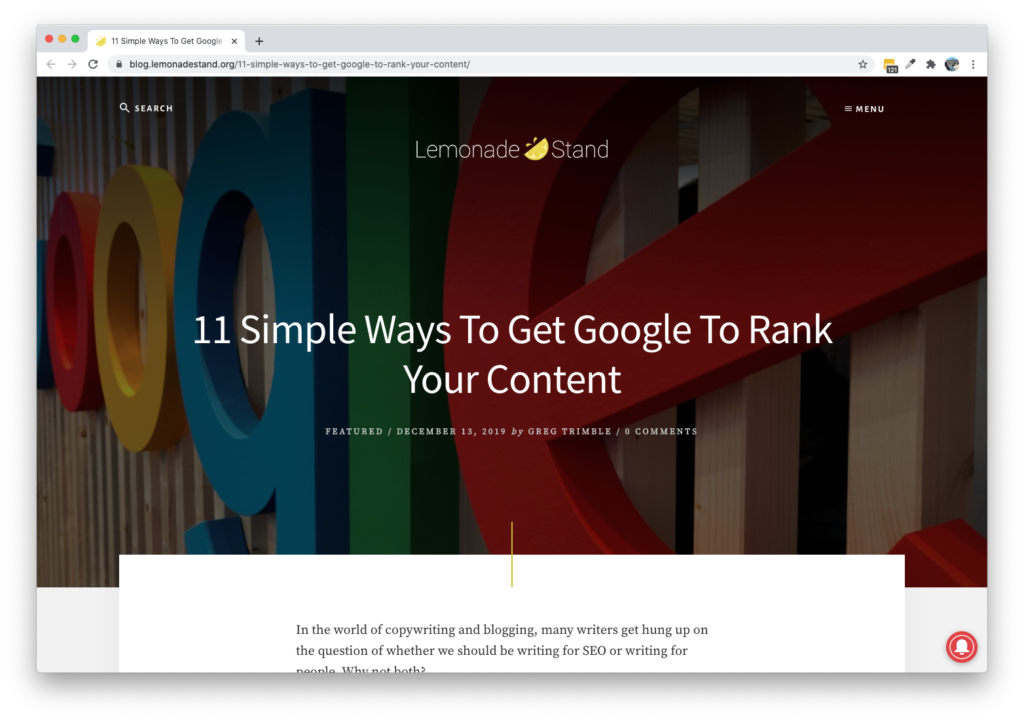 Screenshot of Lemonade Stand Blog - 11 Simple Ways To Get Google To Rank Your Content