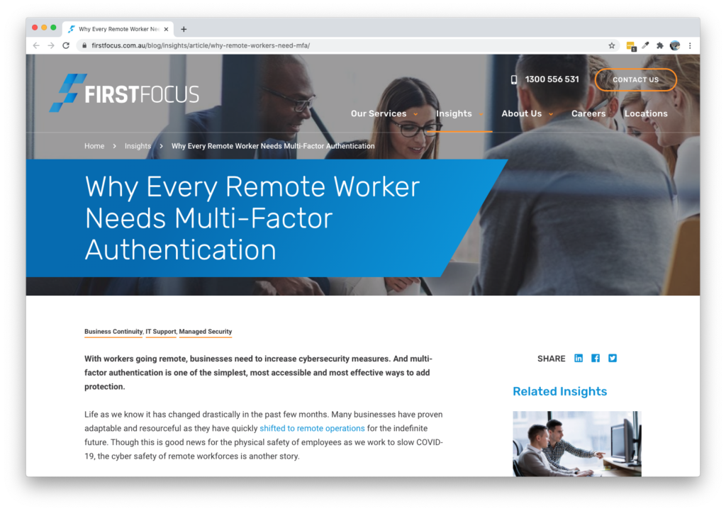 Screenshot of First Focus Why Every Remote Worker Needs Multi-Factor Authentication