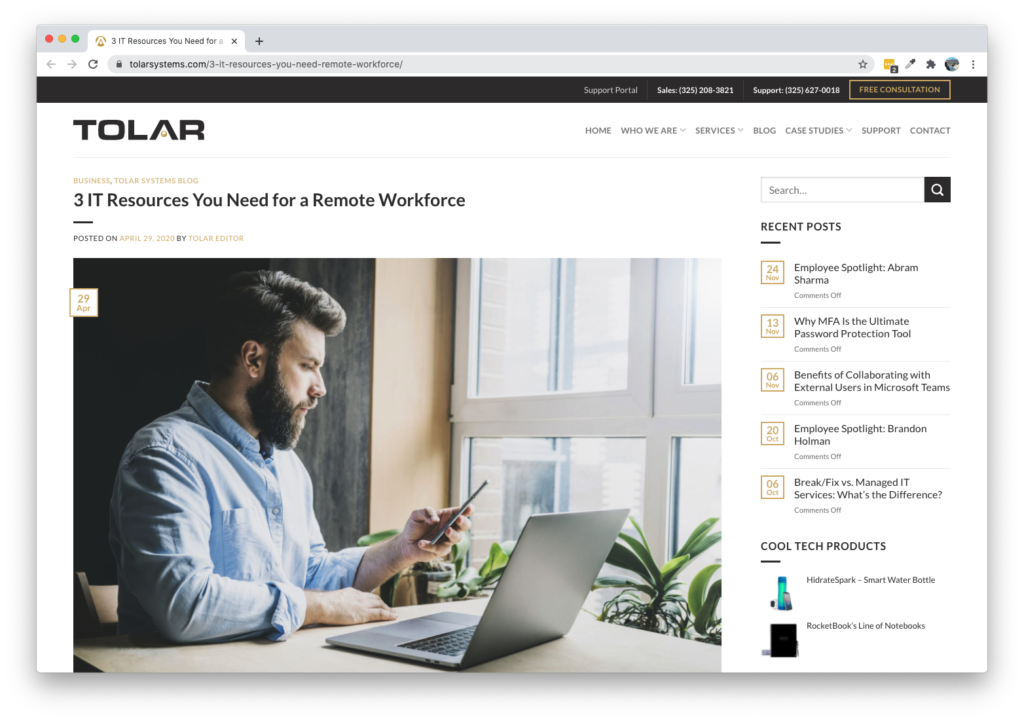 Screenshot of Tolar Blog - 3 IT Resources You Need For A Remote Workforce