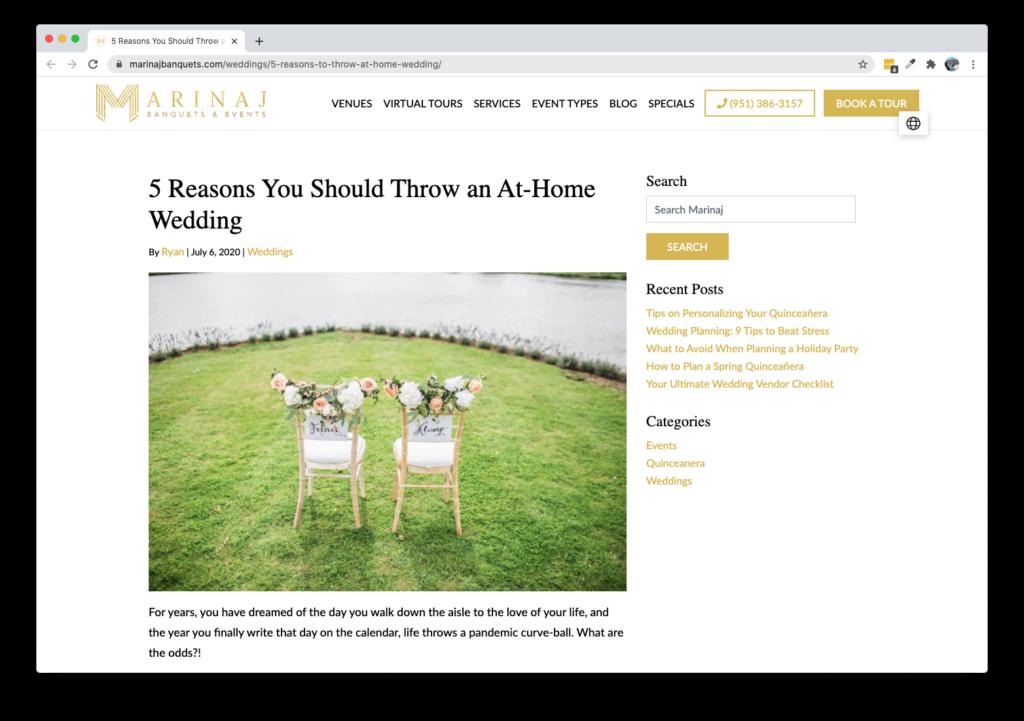 Screenshot of Marinaj Banquets and Events Blog - 5 Reasons You Should Throw an At-Home Wedding