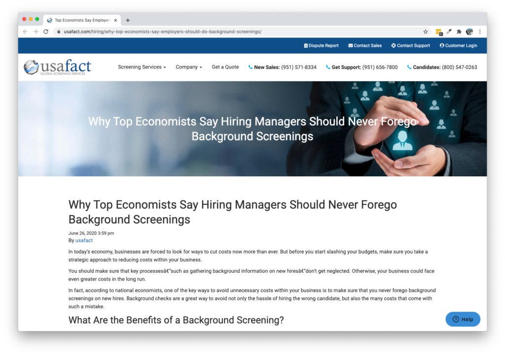 Screenshot of USA Fact Blog - Why Top Economists Say Hiring Managers Should Never Forego Background Screenings