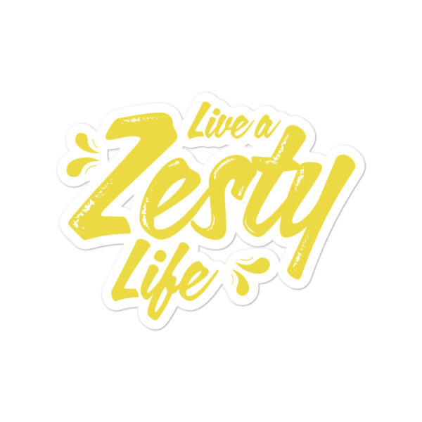 Live a Zesty Life Yellow on White Background Sticker Large