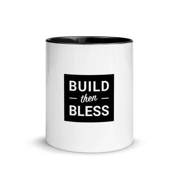 Build Then Bless Black Background on White Mug