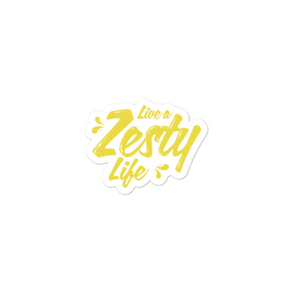 Live a Zesty Life Yellow on White Background Sticker Small